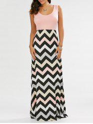 Sleeveless Maxi Chevron Tank A Line Dress - PINK