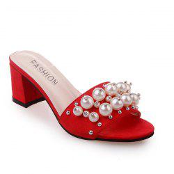 Block Heel Faux Pearls Slippers - RED