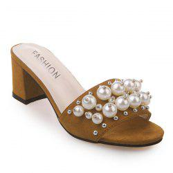 Block Heel Faux Pearls Slippers - BROWN