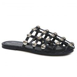 Studded PU Leather Slippers - BLACK