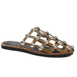 Studded PU Leather Slippers - BROWN