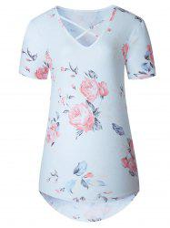 V Neck Criss Cross Floral Top