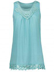 Lace Trim Sleeveless Tank T-Shirt - LIGHT BLUE S