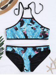 Halter Padded Palm Tree Bikini Set