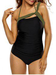 Ribbon Panel Halter One-Piece Swimsuit