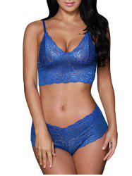 Sheer Lace Bralette Bustier Set - BLUE
