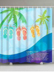 Cartoon Beach Flip Flops Waterproof Fabric Shower Curtain