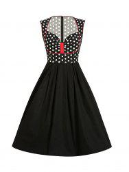 Sleeveless Polka Dot Insert Retro Style Dress