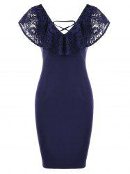 Lace Insert Criss Cross Ruffle Pencil Dress