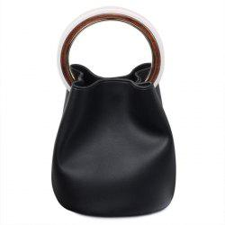 Top Handle Bucket Bag with Pouch Bag - BLACK