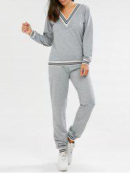 Fashionable V-Neck Long Sleeve Striped Sweatshirt + Fitted Pants Twinset For Women -