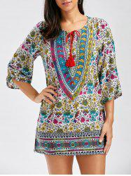 Vintage Style V-Neck Full Print 3/4 Sleeve Dress For Women - COLORMIX