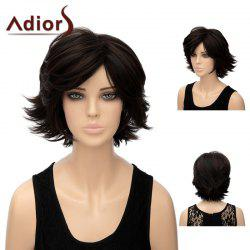 Adiors Short Side Bang Natural Straight Shaggy Tail Upwards Synthetic Wig