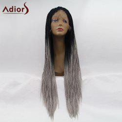 Adiors Long Ombre Micro African Braids Lace Front Synthetic Wig