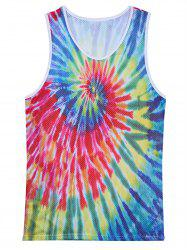 Openwork 3D Colorful Tie Dye Print Tank Top - COLORMIX