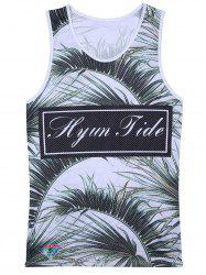 Openwork 3D Leaves Graphic Print Hawaiian Tank Top