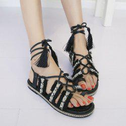 Fringe Toe Ring Sandals