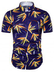 Cover Placket 3D Floral Print Hawaiian Shirt