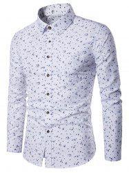 Long Sleeve Tiny Floral Print Pocket Shirt