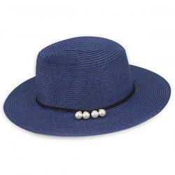 Artificial Pearl Embellished Beach Straw Hat