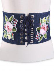Lace Up lowers Embroidered Corset Waist Belt - CERULEAN