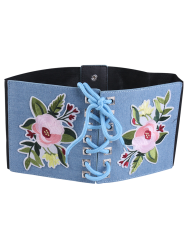 Lace Up lowers Embroidered Corset Waist Belt - LIGHT BLUE