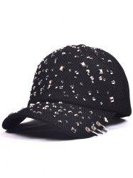 Mesh Rivet Sequin Embellished Baseball Cap