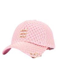 Mesh Metallic Stick Circle Embellished Baseball Cap
