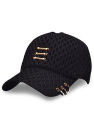 Mesh Metallic Stick Circle Embellished Baseball Cap - BLACK