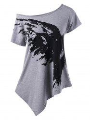 Skew Collar Graphic Asymmetrical T-Shirt