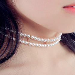 Double Artificial Pearl Chain Necklace