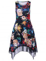 Plus Size Floral Blossom Asymmetric Swing Dress