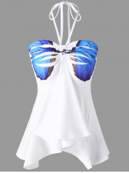 Butterfly Print Ruffle Halter Bandeau Top