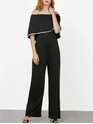 Contrast Piped Off The Shoulder Jumpsuit - BLACK