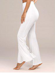 Tassel Side Slit High Waist Flare Pants - WHITE
