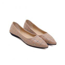 Pointed Toe Rivets Flat Shoes - PAPAYA
