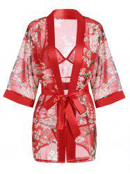 Transparent Chiffon Floral Sheer Wrap Sleepwear Pajamas Set - RED
