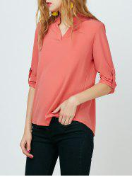 V Neck High Low Chiffon Blouse