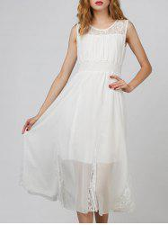 Lace Panel Chiffon Prom Midi Dress
