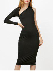 Slim Fit One Shoulder Midi Dress