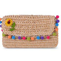 Pom Pom Trim Straw Crossbody Bag