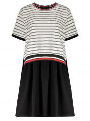 Plus Size Short Sleeve Striped Dress