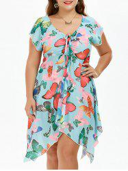 Cute Short Sleeve Butterfly Print Handkerchief Chiffon Dress