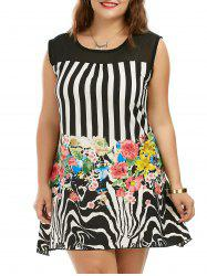 Plus Size Floral Striped Sleeveless Tunic Dress