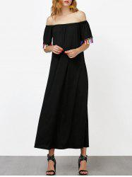 Off The Shoulder Maxi Dress with Tassel