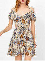 Floral Print Cut Out Flounce Halter Dress