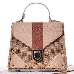 Leather Panel Straw Handbag -