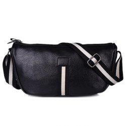 PU Leather Contrast Strap Crossbody Bag