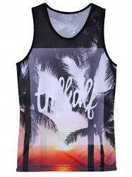 Openwork 3D Trees Graphic Print Hawaiian Tank Top - COLORMIX