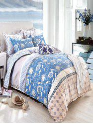 Queen Size Flower Print Comfortable 4Pcs Bedding Set